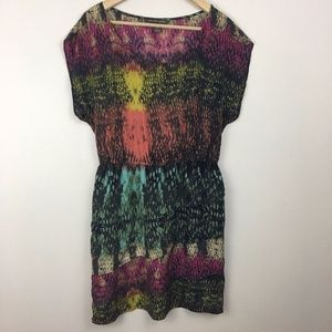 Charlie Jade Dress 100% SILK Multi Color M